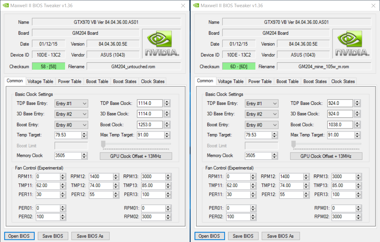 Passive cooled GTX970 bios hack to lower power