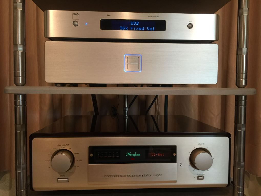 HDPLEX 2nd Gen H5 fanless PC case with NAD M51 DAC and Accuphase c-290v Preamp