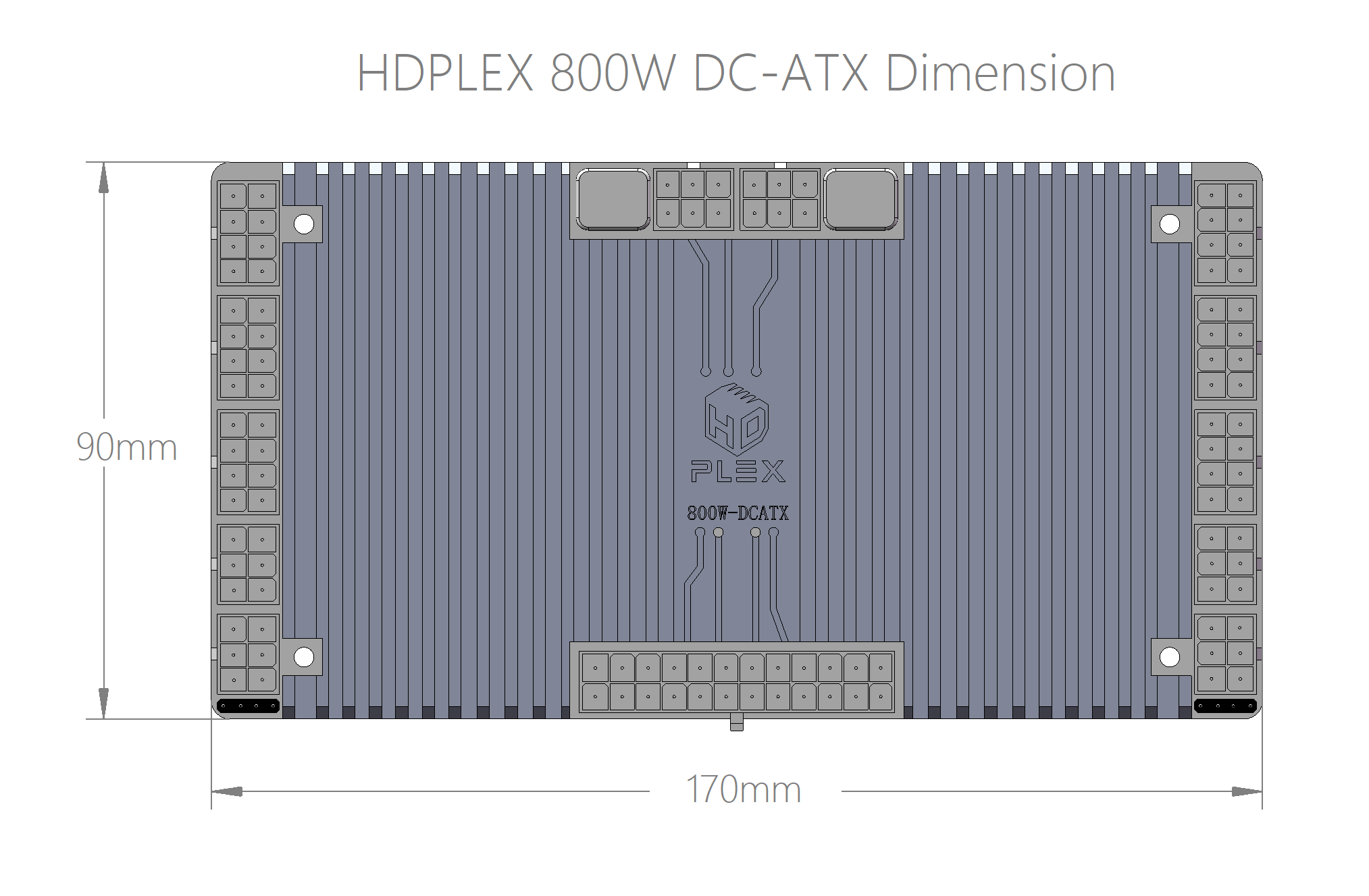 HDPLEX 800W DC-ATX Converter Dimension